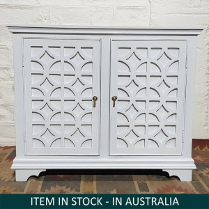 French Arched Hand Carved Solid Wood Buffet Sideboard White