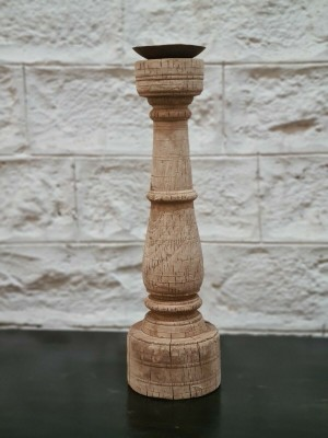 Antique Indian Pillar Leg Natural Wood Carved Vintage Candle Stand holder 12 cm