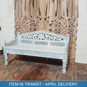 Floral Hand Carved Indian Solid Wood Sofa Daybed Blue 150x65x85 cm