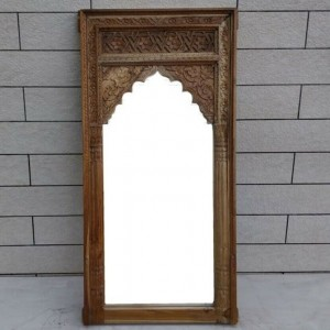 Mehrab Indian Hand Carved Mirror Arched Globe Wooden Wall Decor 120x60cm Brown