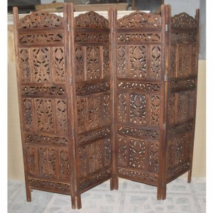 Hand Carved Indian Partition Screen room divider Brown
