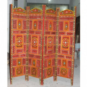 Hand Carved Indian Partition Screen room divider PAINTED RED