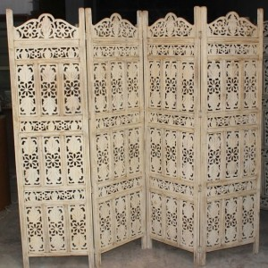 Hand Carved Indian Partition Screen room divider WHITEWASH
