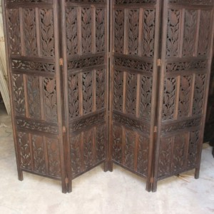 Hand Carved Indian Partition Screen room divider Chocolate