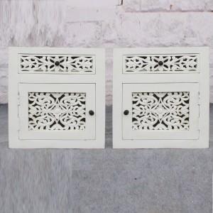 DYNASTY handcarved jali PAIR of bedsides 50x40x55cm