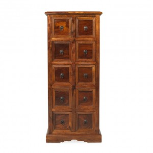 Takat Metal Jali Natural Indian 10 Drawer CD Cabinet