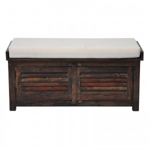 Shutter solid wood storage chest with seat