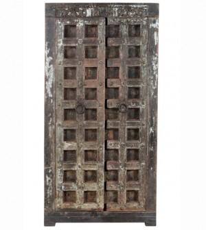 Antique Vintage Doors Large Wardrobe Cabinet Solid Wood And Metal Indian Brocante