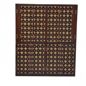 Mogra Brass Work Indian Antique Style Walnut XXL TV Unit Home Theatre Cabinet