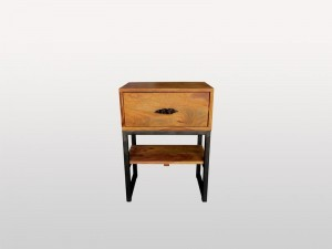 Industrial Solid Wood 1 Drawer Side Table Natural
