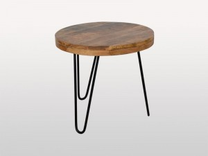 Alfred Indian Solid Wood Round Side Table