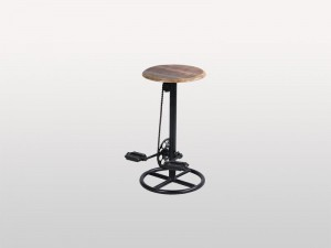 Industrial Cycle Paddle Stool Round Wooden Top