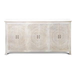 Mandala Hand Carved Indian Solid Wood Buffet Sideboard White