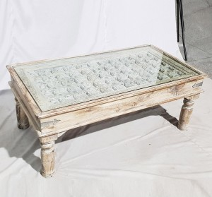 Solid Old Window brasswork inset Coffee Table White Wash With Glass Top 120x60x40cm C