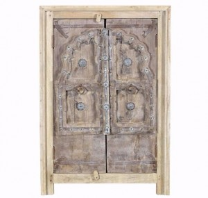 Antique Vintage 2 Doors Sideboard Solid Natural Wood Indian Brocante