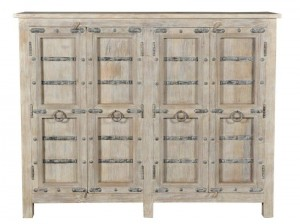 Antique Vintage Doors Cabinet Solid Natural Wood Indian Brocante
