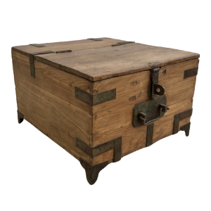 Indian Solid Teak Wood Military Chest 61cm