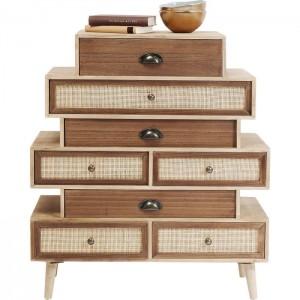 Vivid Rattan Woven Jute Chest of drawers Dresser tallboy Small 65x30x70cm