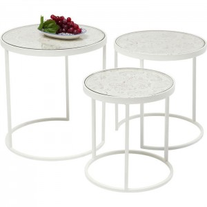 Vivid French Contemporary Mango Wood Coffee table with Metal frame set of 3