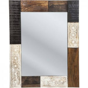 Vivid Noir Contemporary Mango Wood Bathroom Wall Mirror 100x80cm