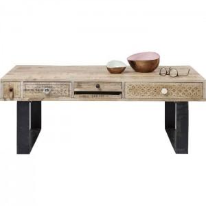 Vivid Sahara Contemporary Mango Metal legs Rectangle Coffee Table 1.2m