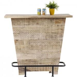 Vivid Sahara Contemporary Mango Wood Home Bar Counter Winerack