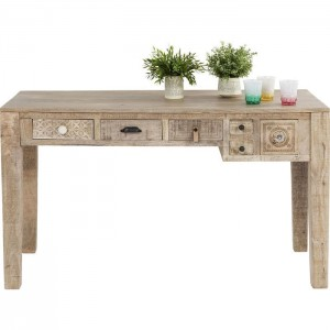 Vivid Sahara Contemporary Mango Wood Console Hall Table Study Desk