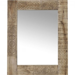 Vivid Sahara Contemporary Mango Wood Bathroom Wall Mirror 100x80cm