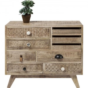 Vivid Sahara Contemporary Mango Wood Tallboy Dresser Chest of drawers