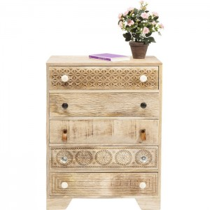 Vivid Sahara Contemporary Mango Wood Tallboy Chest of drawers 80cm