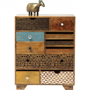 Vivid Screen Contemporary Mango Wood Tallboy Chest of drawers 90cm