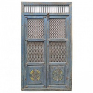 Hand Carved Blue iron grill Antique Indian Door
