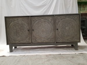 Indian Hand Carved Solid Wooden Beautiful Buffet Cabinet Sideboard 175x40x75cm