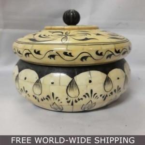 Real Bone Inlay Designer Luxury Jewellery Box Gift storage Yellow