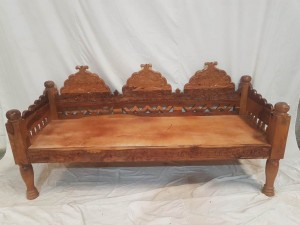 Hand Carved Indian Balinese Daybed Couch Sofa Brown