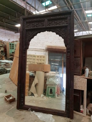 Hand Carved Antique Indian Arch XL Large Mirror Frame Black Finish