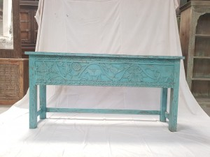 Indian Antique Tribal Hand Carved Art Wooden Console Table Side Table 166x39x83cm