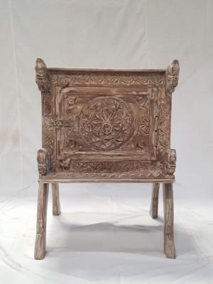 Indian Antique Tribal Hand Carved Art Wooden Damchiya Sideboard Natural 50x47x70cm