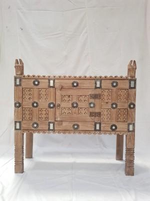 Indian Antique Tribal Hand Carved Art Wooden Damchiya Sideboard Natural 128x41x129cm