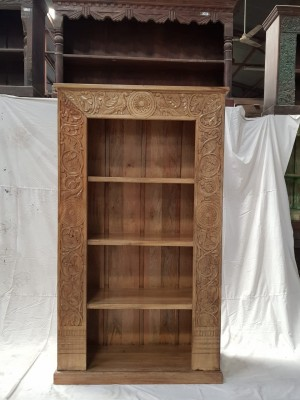 Indian Mughal Hand Carved Solid Wooden Beautiful Bookcase 106x40x183cm