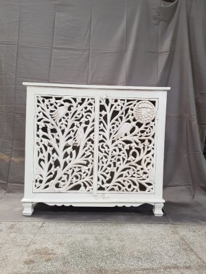 Indian Jali Hand Carved Solid Wooden Beautiful Buffet Cabinet Sideboard 90x42x90cm