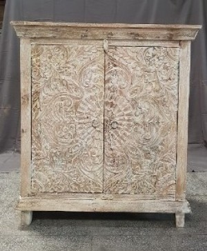 Indian Hand Carved Solid Wooden Beautiful Buffet Cabinet Sideboard 90x45x100cm