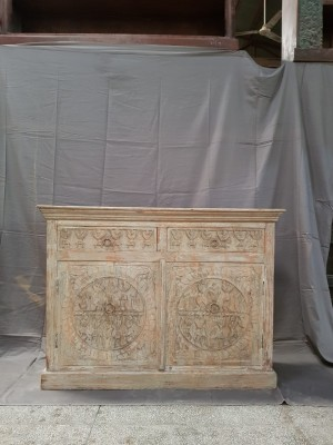 Indian Hand Carved Solid Wooden Beautiful Buffet Cabinet Sideboard 119x40x88cm