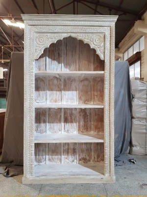 Indian Mughal Hand Carved Solid Wooden Beautiful Bookcase 124x46x213cm