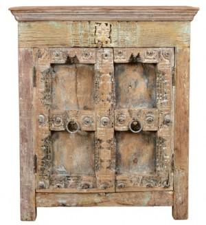 Antique Vintage Doors Cabinet Solid Dark Wood Indian Brocante