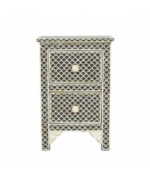 Maaya Bone inlay Fish Scale 2 drawer bedside lamp table