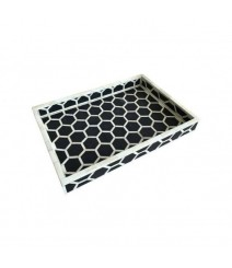 Maaya Bone Inlay Serving Tray - Honeycomb Black  49x39x5cm