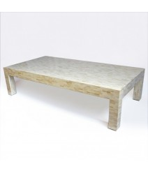 Maaya Bone Inlay Rectangular Coffee Table White Geometric