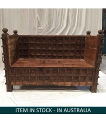 Solid Wood Indian Hand carved large Daybed Rustic Brown 157 x 61 x 104 cm