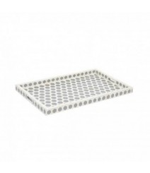 Maaya Bone Inlay Serving Tray - Hexagon Design Grey 49x39x5cm